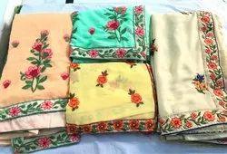 Marble Chiffon Embroidery Saree