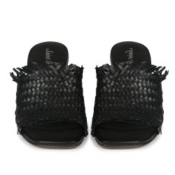 Party Wear Womens Black Woven Leather Block Heels, Size: 35-41