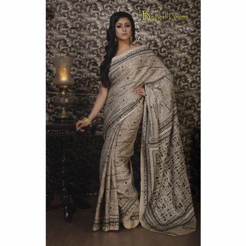 d476e7e30f Hand Work Kantha Stitch Saree on Pure Tussar Silk in Beige and Black ...