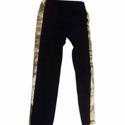 Black Cotton Lycra Ladies Designer Legging
