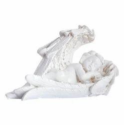 Porcelain Cupid Showpiece (14 cm x 6 cm x 9 cm, White)