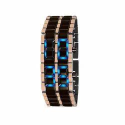 Male Stainless Steel Blue LED Digital Bracelet Wrist Watch