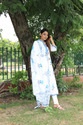 Indian Traditional Flower Print Cotton Kurti with Dupatta