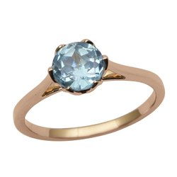 Solitaire Blue Topaz Gemstone 9k Yellow Gold Women Gift Ring