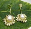 Fancy Pearl Brass Gold Plated Earring