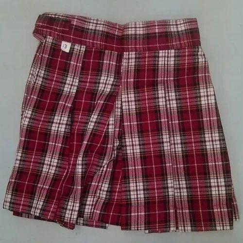 5e35936196 Cotton Summer Girls Check School Skirt, Rs 160 /piece, Leo Garments ...