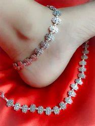 Silver Oxidized Metal Oxidized Lotus Style Anklets