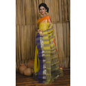 Bengal Handloom Cotton Saree in Mustard Yellow with Ganga Jamuna Border