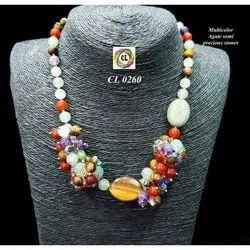 Cl Code Fancy Multicolour Agate Semi Precious Stone Designer Fashion Jewellery Necklace