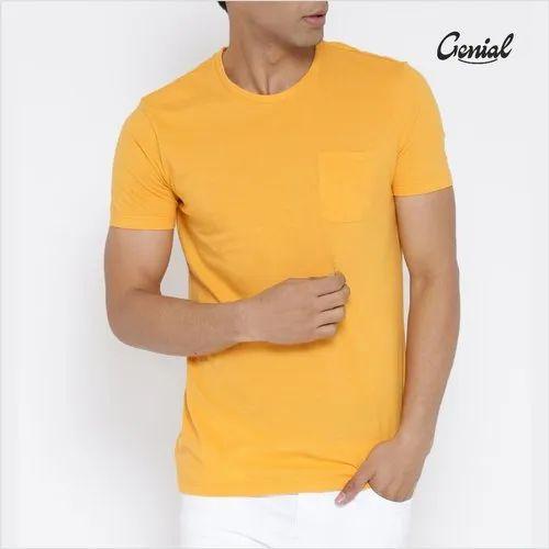 Men\'s Round Neck Half Sleeve Premium Cotton T-shirt with Pocket