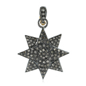 Handmade 18kt Gold And Pave Diamond Silver Pendant