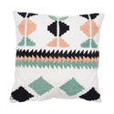 Colorful Geometric Embroidered Cotton Cushion Cover