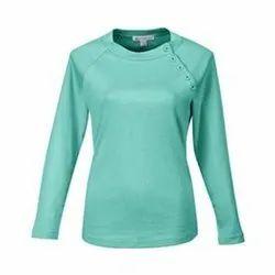 Full Sleeves Cotton Ladies Round Neck Plain Top
