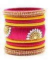 Pink and Yellow Silk Thread Bangle