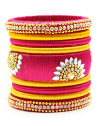Pink and Yellow Silk Thread Bangle