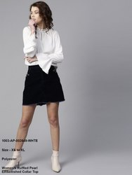 Women's Ruffled Pearl Embellished Collar Top
