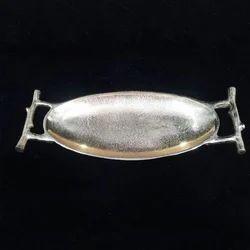 Silver Brass Oval Platter, Size: 15x6 inch
