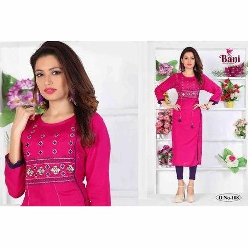 c824f3a7d2 Medium , XL Pink Ladies Cotton Kurti, Rs 300 /piece, Prime   ID ...