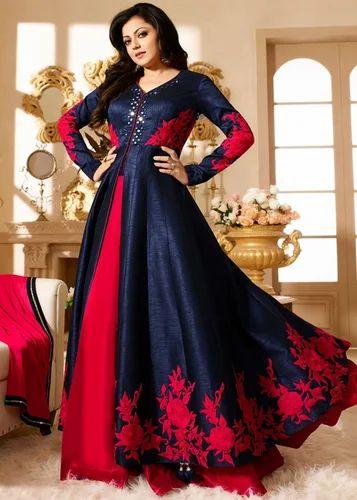 Mirror Work Banglory Silk Long Style Dress