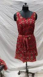 Round Neck Printed Ladies Rayon Bagru Dress