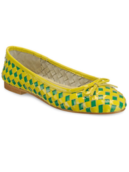 Female Woven Leather Yellow And Green Ballerinas