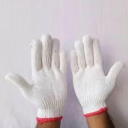 Full Finger White Nylon Knitted Gloves