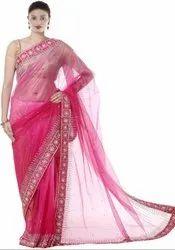 Rani Pink Hand Work Saree