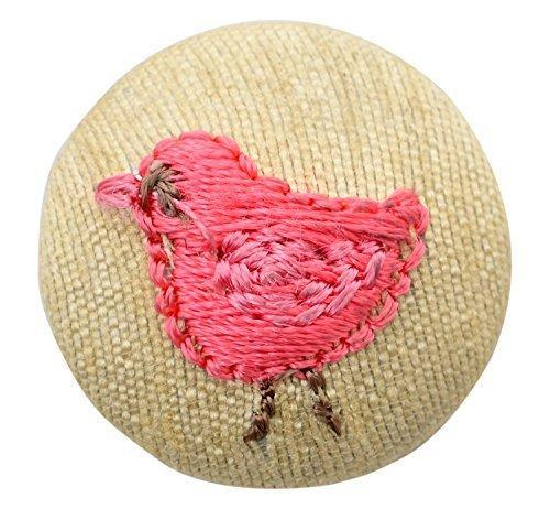 Fabric And Lace Buttons Embroidery Birds Design With Color Tread