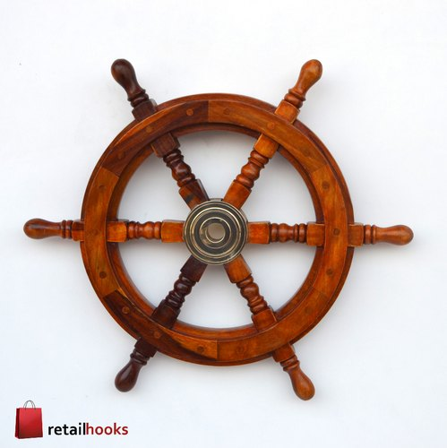 Wooden Ship Wheel 18 Pirate Decor Ships Wheel For Home Boats And Walls व डन श प व ह ल Retailhooks Roorkee Id 21669356273