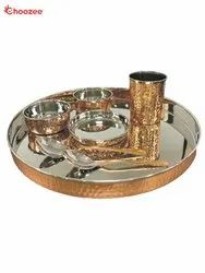 Copper & Stainless Steel Thali Set (7 Pcs)