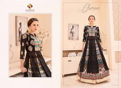 Black Color Digital Printed Anarkali Suit