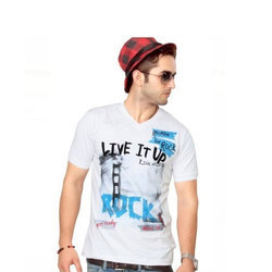 Mens Cotton Printed T Shirt, Size: S-XXL