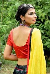 Black Taffeta Silk Kali Chaniya With Lycra Gaji Blouse