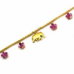 OE0632-03 925 Sterling Silver Gold Plated Elephant Anklet