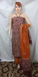 Unstitched Khadi Cotton Batik Print Suit
