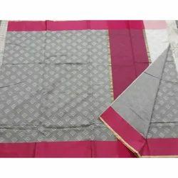 Casual Wear Printed Banarasi Cotton Saree, 6.3 m, With Blouse Piece