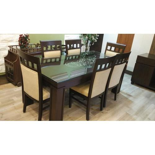 Genial Dining Table Hard Top With Glass Top And Six Chairs