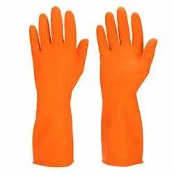 Plain Orange Housekeeping Hand Gloves