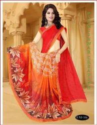 Red Color Printed Silk Saree