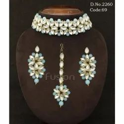 Indian Wedding Stone Choker Necklace Set