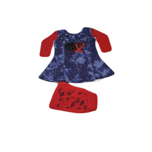 Cotton Baby Girl Red Printed Suit