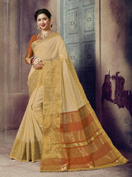 Beige Designer Traditional Wear Chanderi Cotton Saree with Blouse Piece