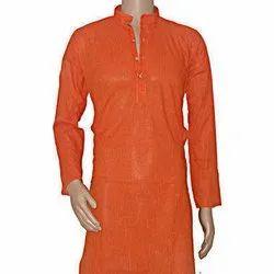 Casual Wear Mens Orange Plain Silk Kurta, Size: 42