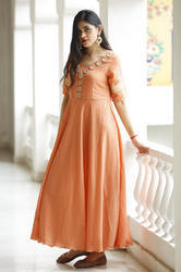 Party Wear Muslin Designer Wear Gown