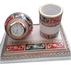 Marble Table Clock With Pen Stand