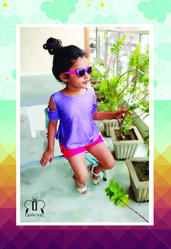 Multicolor Kids Tops & Tees Cold Shoulder Denim Effect Summer Top, Age: 1 Year To 12 Years