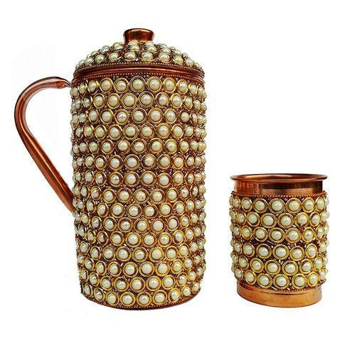 Copper Jug With Pearl Work