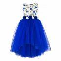 Polyester Cotton Female Kids Navy Dress