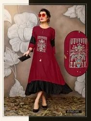 Flora Vol 1-Trendy Traditional Designer Anarkali Heavy Rayon With Embroidery Work Long Kurtis