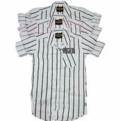 Party Wear Collar Neck Mens Striped Cotton Shirt, Handwash, Size: M To Xxl